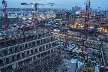 Ueberblick Baustelle Werksviertel und Ostbahnhof  Muenchen  Dezember 2020