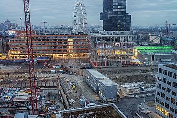 Ueberblick Baustelle Werksviertel Mitte mit Riesenrad  Muenchen  Dezember 2020
