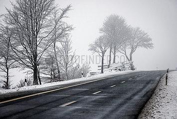 Winterlandschaft mit leerer Landstrasse  Winterberg  Sauerland  Nordrhein-Westfalen  Deutschland