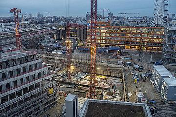 Ueberblick Werksviertel Mitte mit Riesenrad  Baustelle  Muenchen  Dezember 2020