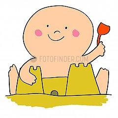 Baby making sandcastle illustration 1