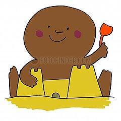 Baby making sandcastle illustration 2