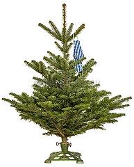 Christbaum  Tanne  symbolisch mit bayerischem Mundschutz  Dezember 2020