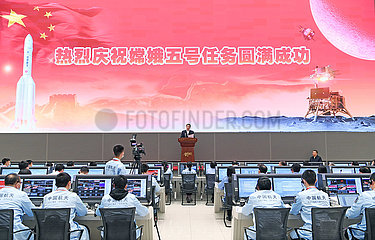 CHINA Beijing-XI jinping-Chang'e-5-RETURN kapselLandungsGlückWunschNachricht (CN)