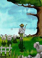 Hirtenjunge mit Schafen