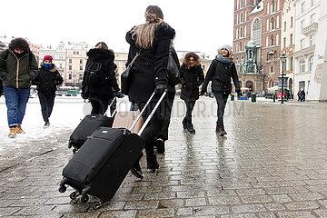 Krakau  Polen  Weihnachtsengel leuchtet in der Nacht
