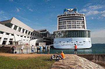 Singapur  Republik Singapur  Kreuzfahrtschiff Quantum of the Seas am Marina Bay Cruise Centre Singapore nach Covid-Alarm