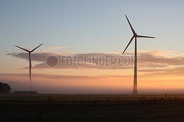Neu Heinde  Deutschland  Windkraftanlagen bei Morgendaemmerung im Nebel
