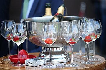 Hamburg  Deutschland  halbleere Weinglaeser gefuellt mit Champagner und Erdbeeren
