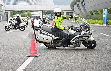 CHINA-FUJIAN-FUZHOU-TRAFFIC POLICEWOMEN-MOTORCYCLE TEAM (CN)