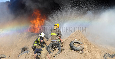 KUWAIT-JAHRA GOVERNORATE-TIRE YARD-FIRE