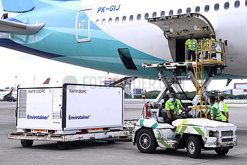 INDONESIA-TANGERANG-COVID 19-VACCINE RAW MATERIAL-ARRIVAL