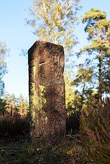 Deutschland  Lohheide - Kriegsgefangenfriedhof der Gedenkstaette Bergen-Belsen. Hier liegen sowjetische Soldaten  die die Nazis zu Tode gequaelt haben