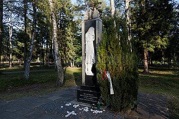 Deutschland  Lohheide - Grab mit Skulptur  Eingangsbereich  Kriegsgefangenfriedhof der Gedenkstaette Bergen-Belsen. Hier liegen sowjetische Soldaten  die die Nazis zu Tode gequaelt haben