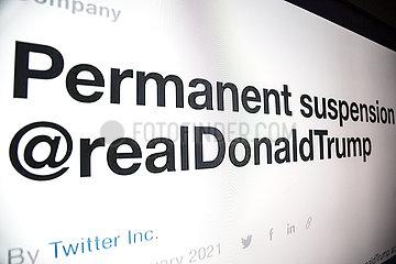 realDonaldTrump- Donald Trump auf twitter  gesperrt nach dem Sturm auf das Capitol