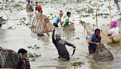 INDIEN-ASSAM GEMEINSCHAFTLICHE FISCHEN-Bhogali Bihu FEIER