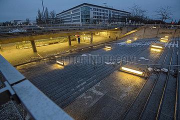 U-Bahnstation Messestadt West  Muenchen  Januar 2021