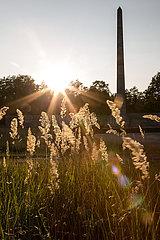 Deutschland  Lohheide - Gedenkstaette Bergen-Belsen  Obelisk in der Abendsonne