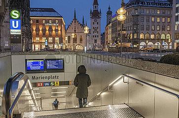 U-Bahnhof Marienplatz  Muenchen  Januar 2021