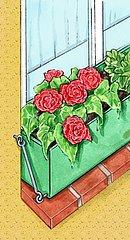 Blumenkasten mit Haken sichern