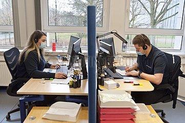 Telefonzentrale des DRK Leitstelle für mobile Impfteams
