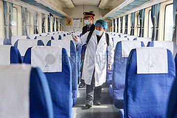 CHINA-GUIZHOU-GUIYANG-TRAIN-DISINFECTION (CN)
