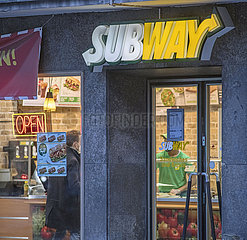 Subway Filiale  Essen To go  Muenchen  Februar 2021