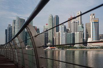 Singapur  Republik Singapur  Stadtansicht mit Wolkenkratzern des Geschaeftsviertels in Marina Bay waehrend der Coronapandemie