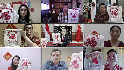 INDONESIEN-JAKARTA-CHINESE EMBASSY-SPRING FESTIVAL SäTZE