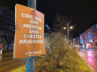 CDU-Wahlplakat zur Landtagswahl in Baden-Wuerttemberg 2021