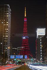 JAPAN-TOKYO-TOKYO TOWER-SPRING FESTIVAL-ILLUMINATION