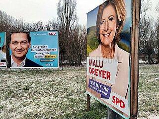 Wahlplakate zur Landtagswahl in Rheinland-Pfalz 2021