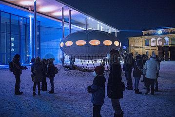 Lichtaktion im Kunstareal  Futuro Haus  Muenchen  Februar 2021