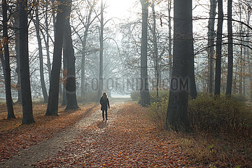 Neuhardenberg  Deutschland  Frau macht einen Spaziergang im Schlosspark