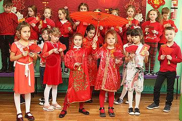 UKRAINE-KIEV-SCHULE-chinesische Neujahr