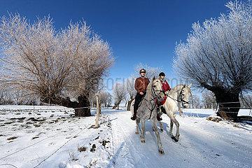 Altlandsberg  junges Paar macht am Valentinstag einen Ausritt in der winterlichen Landschaft