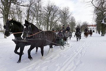 Gestuet Graditz  Auszubildende machen im Schnee einen Ausritt mit Schlittenfahrt