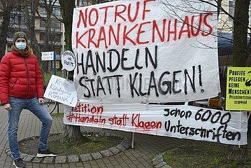 Dauermahnwache vor Krankenhaus in Hamburg  St.Georg