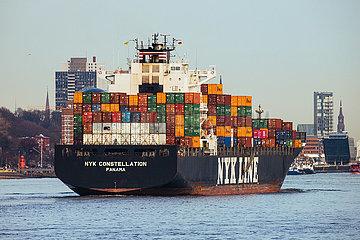 Blick auf die Elbe mit Containerschiff
