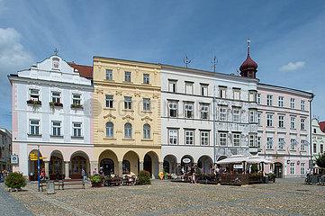 Jindrichuv Hradec  Tschechische Republik - Historische Bebauung am Markplatz