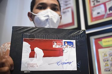 INDONESIA-JAKARTA-COVID-19-VACCINATION-SPECIAL STAMPS-ISSUANCE