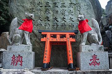 Kyoto  Japan  Inari Okami Japanischer Fuchs (Kitsune) Gottheit (Kami) am Fushimi Inari-Taisha Shinto-Schrein