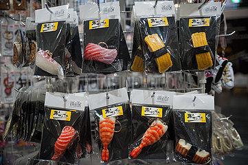 Osaka  Japan  Schluesselanhaenger in Form von Sushi am internationalen Flughafen Kansai