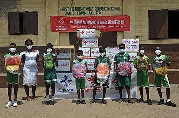GHANA-ACCRA-STUDENTEN-CHINESISCHEN UNTERNEHMEN ÜBER-SPENDE GHANA-ACCRA-STUDENTEN-CHINESISCHEN UNTERNEHMEN ÜBER-SPENDE