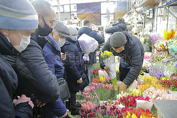 RUSSLAND-MOSCOW-INT'L WOMEN'S DAY-FLOWERS RUSSIA-MOSCOW-INT'L WOMEN'S DAY-FLOWERS