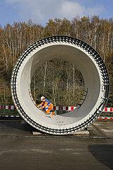 Abwasserkanalbau an der Boye  Bottrop  Ruhrgebiet  Nordrhein-Westfalen  Deutschland
