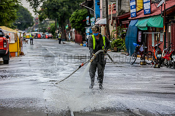 PHILIPPINES-MANILA-COVID-19-STREET DISINFECTION