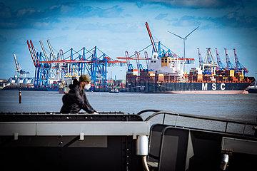 Blick von Teufelsbrück auf den Containerterminal Buchardkai