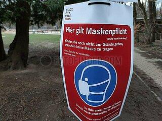Hinweis auf Maskenpflicht