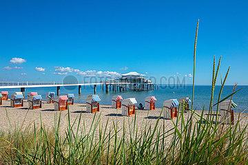 Timmendorfer Strand. Ostseestrand an der Seeschlösschenbrücke